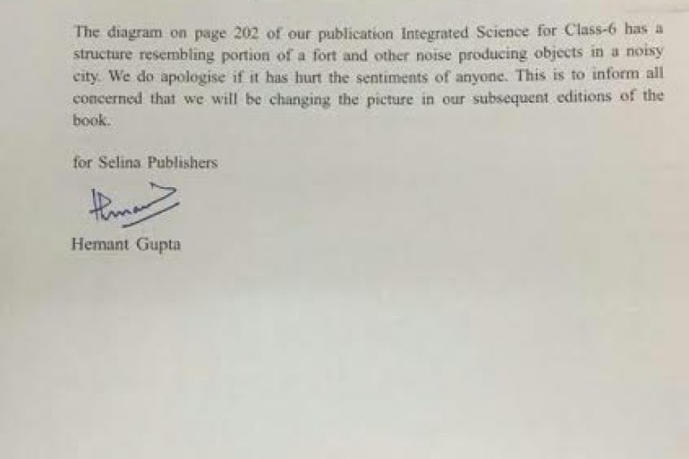 Publisher apologises for Objectionable content in the text book