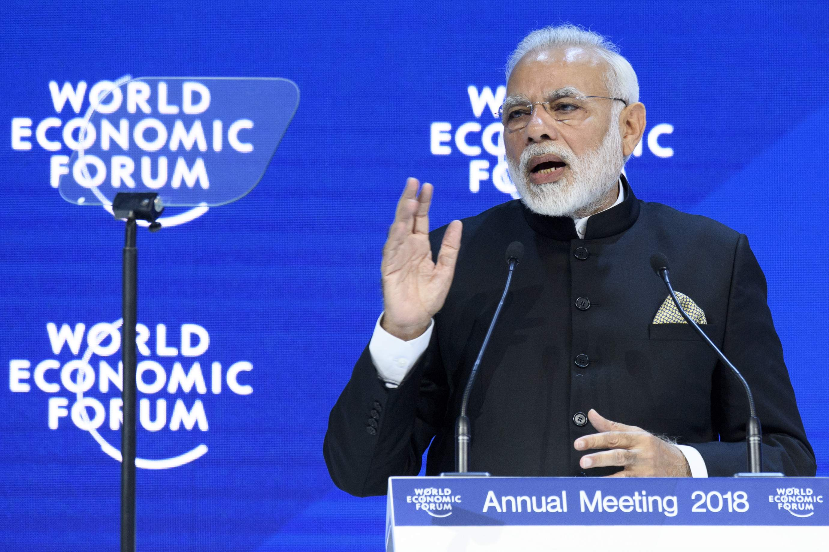 P. M Narender Modi's blunders in Davos during World Economic Forum Discussion