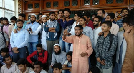 MANUU students demand apology and resignation of the chancellor for his anti-national remark.